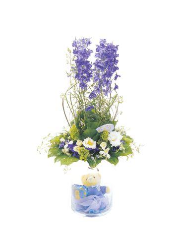 blue arrangement flowers