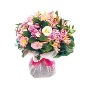 Bouquett`o in pink flower shop