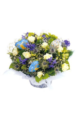 bouquet in blue and white flower shop