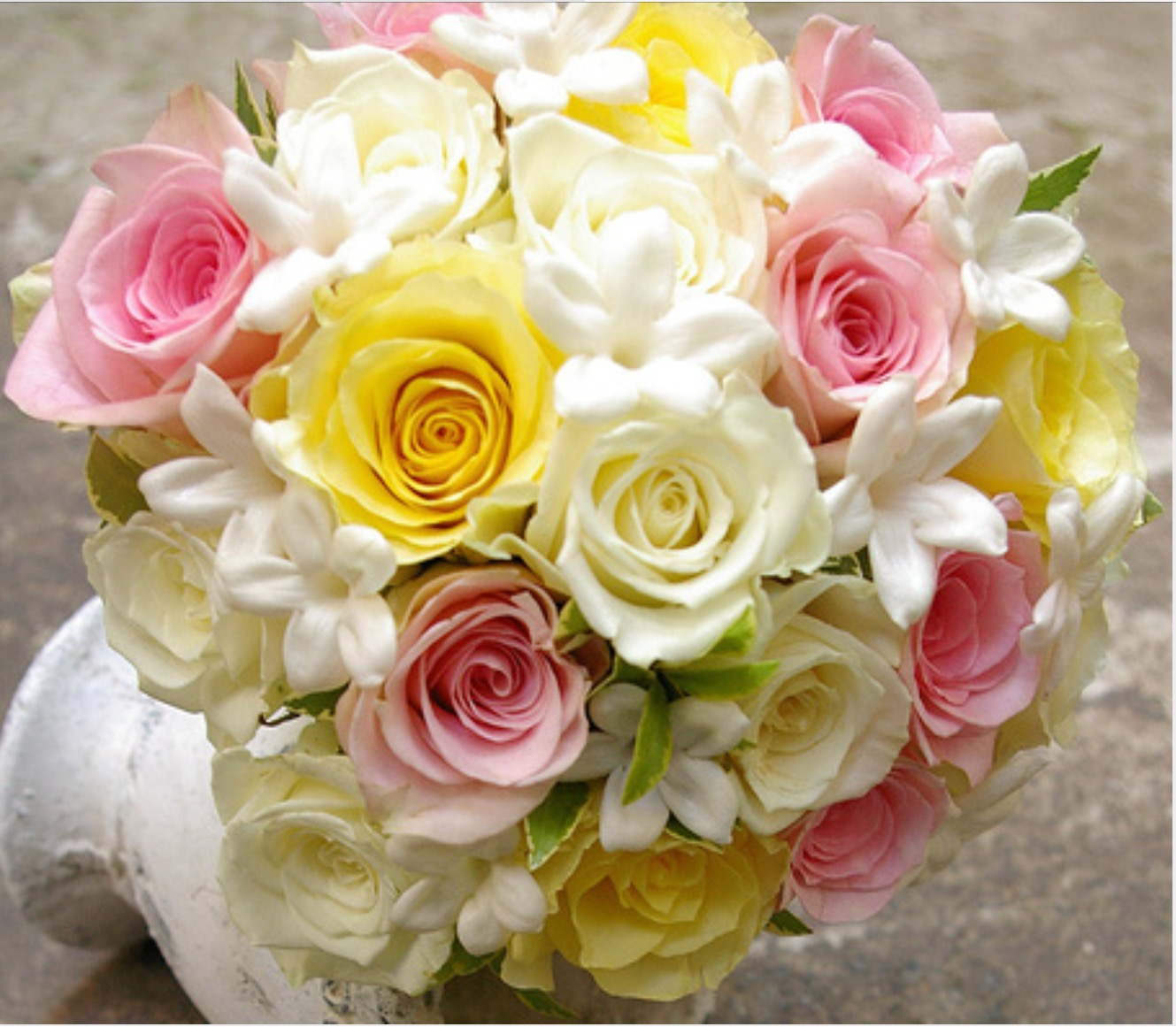 Wedding posy light yellow roses pink and white stephanotis wedding posy light yellow mightylinksfo