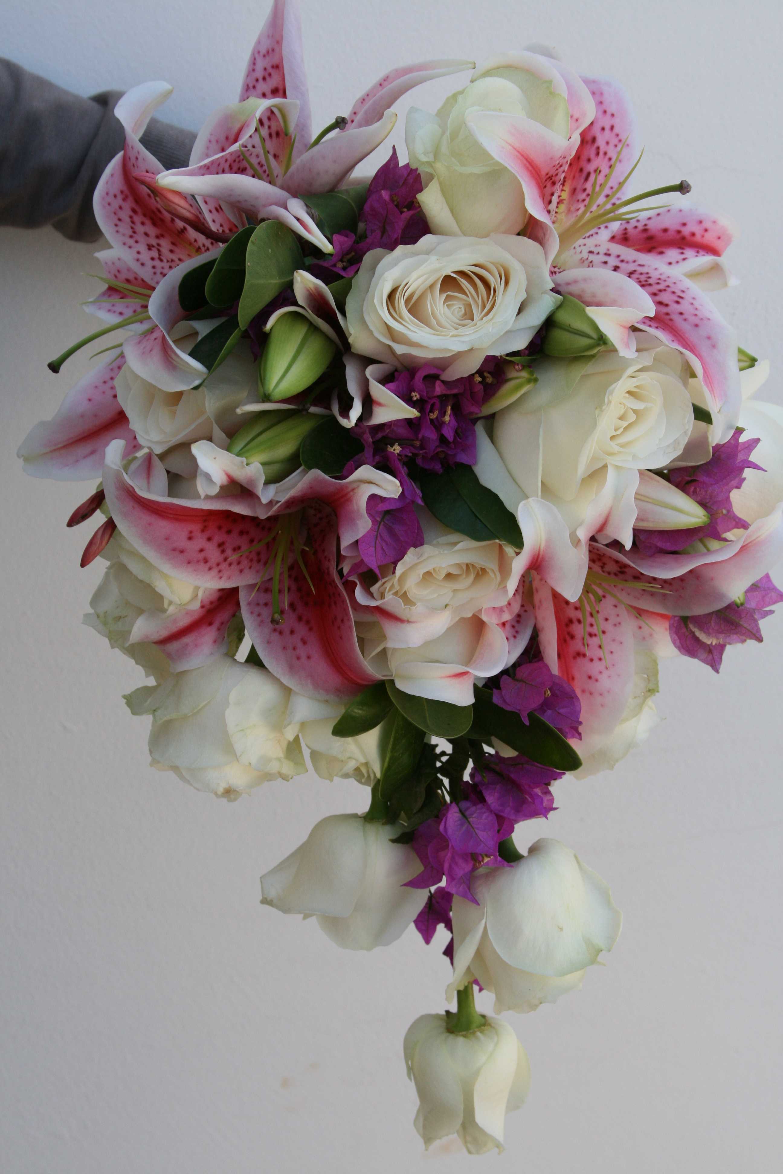 Long Posy Stargazer Lilies And White Roses Arocaria Flower Shop