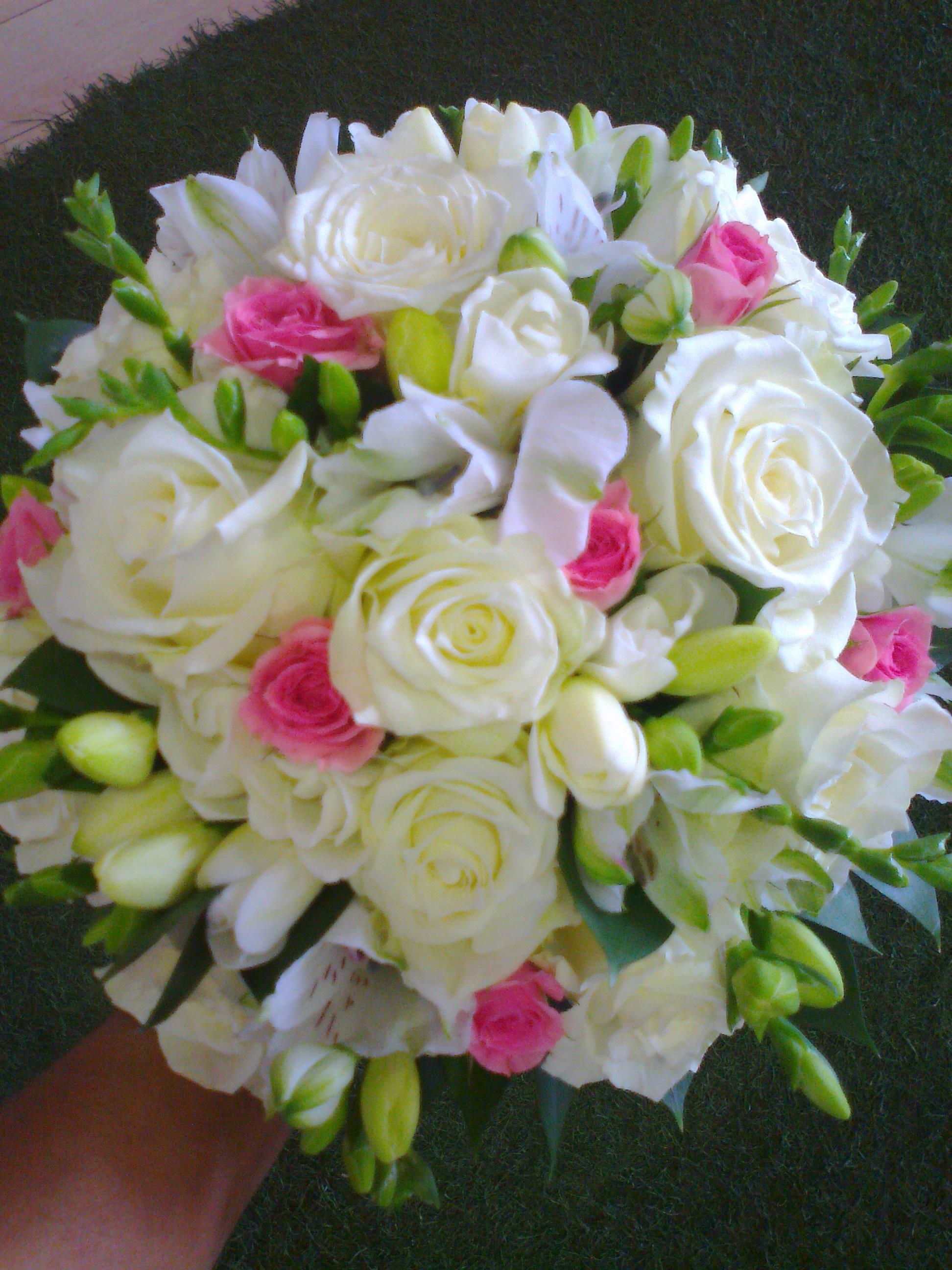 Wedding Posy With Pink Spray Roses Freesias White Roses Arocaria